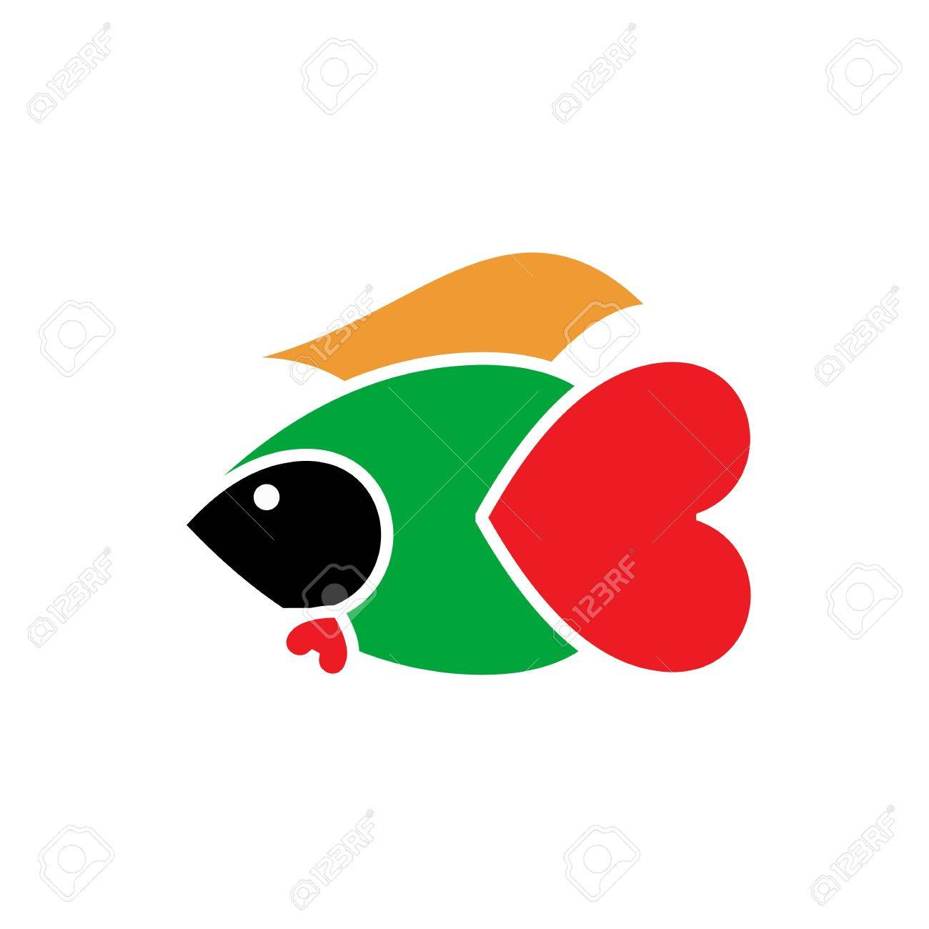 Abstract Colorful Fish Warrior With Heart Tail Illustration Isolated ...