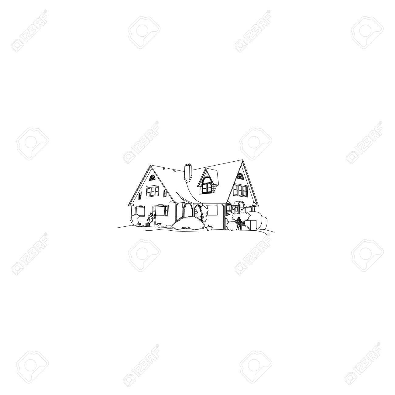 Maison De Luxe Dessin Isolé Sur Fond Blanc