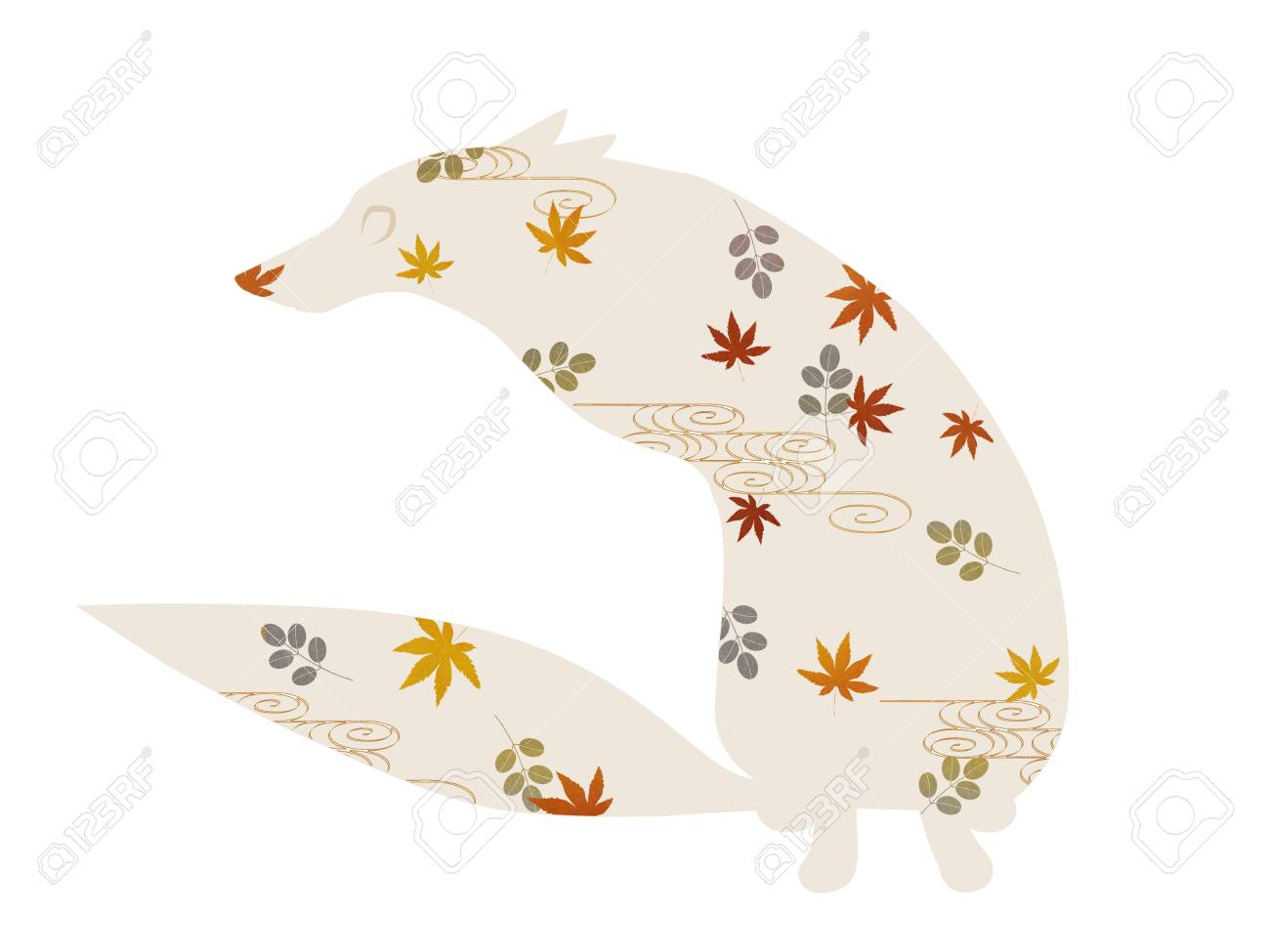 Sitting Fox Silhouette Of Japanese Patterns Stock Photo Picture And