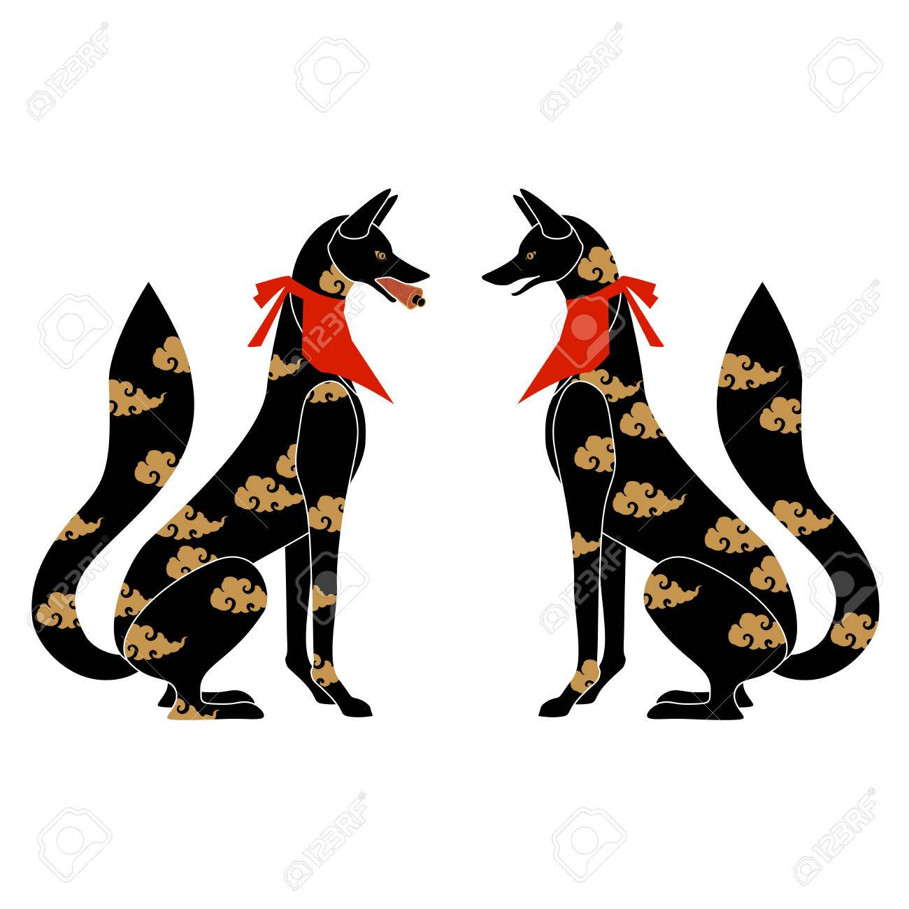Fox Silhouette With Japanese Pattern As Symbol Of Japanese Shrine