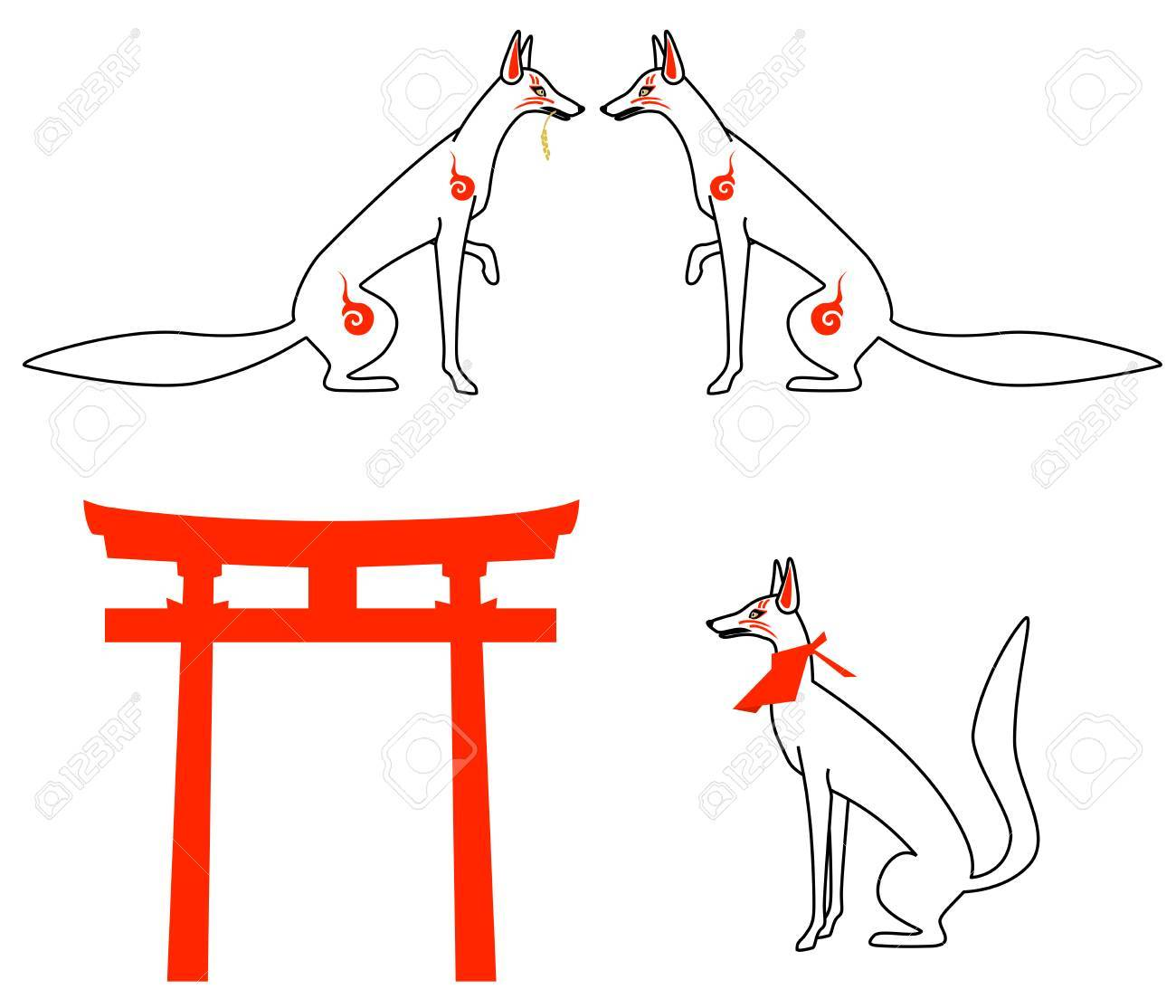 White Fox As Symbol Of Japanese Shrine Stock Photo Picture And
