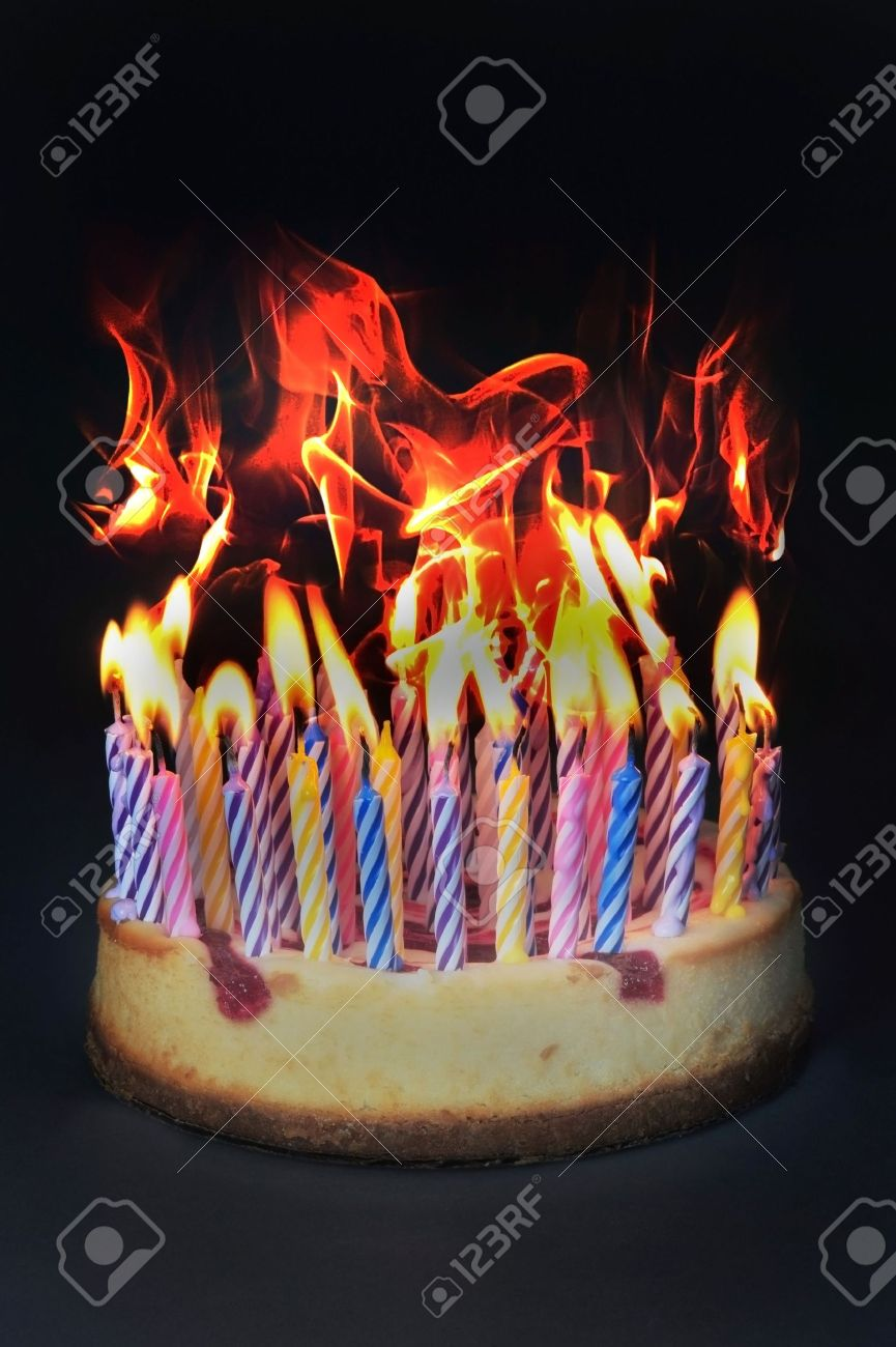 Excellent Birthday Cake On Fire Stock Photo Picture And Royalty Free Image Birthday Cards Printable Nowaargucafe Filternl