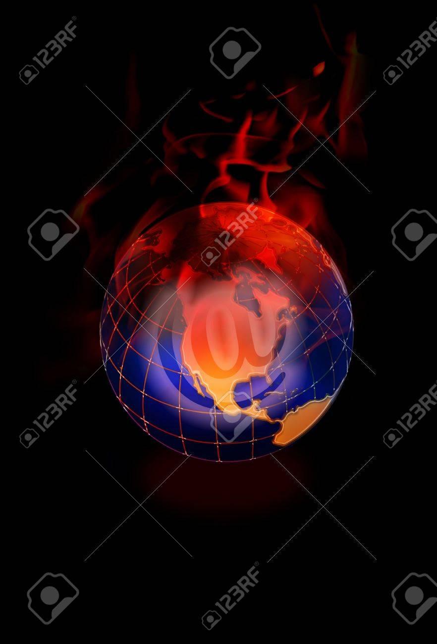 E-Commerce World on Fire. Stock Photo - 11718427