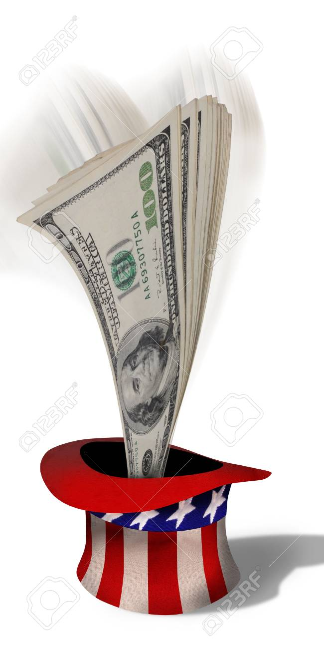 American cash out of a hat Stock Photo - 22973544