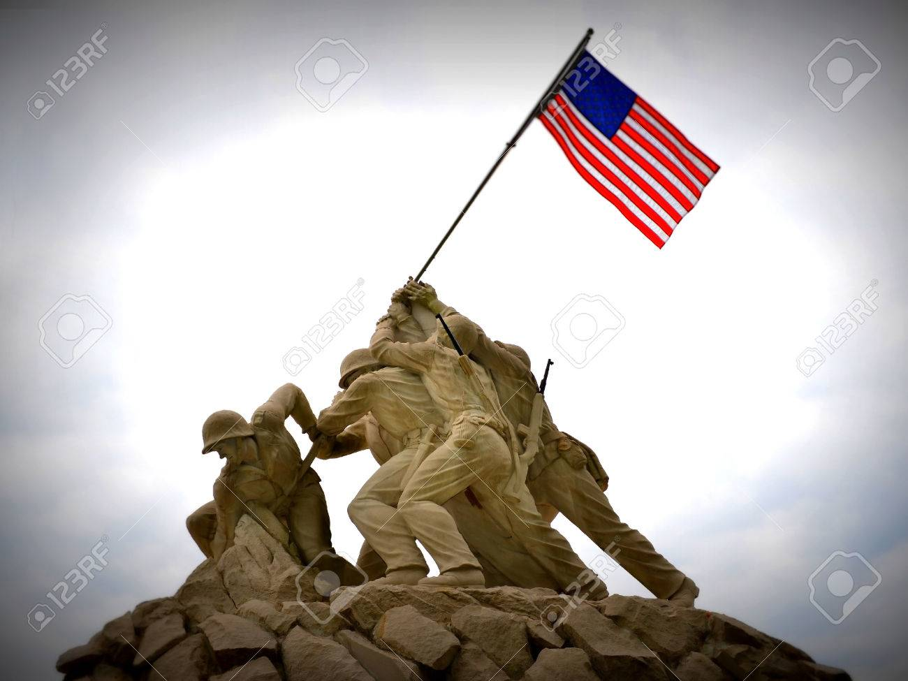 Sept  2013 - Replica of Iwo Jima statue at the entrance to Quantico Marine Corps Base, Quantico, VA  Stock Photo - 22320061