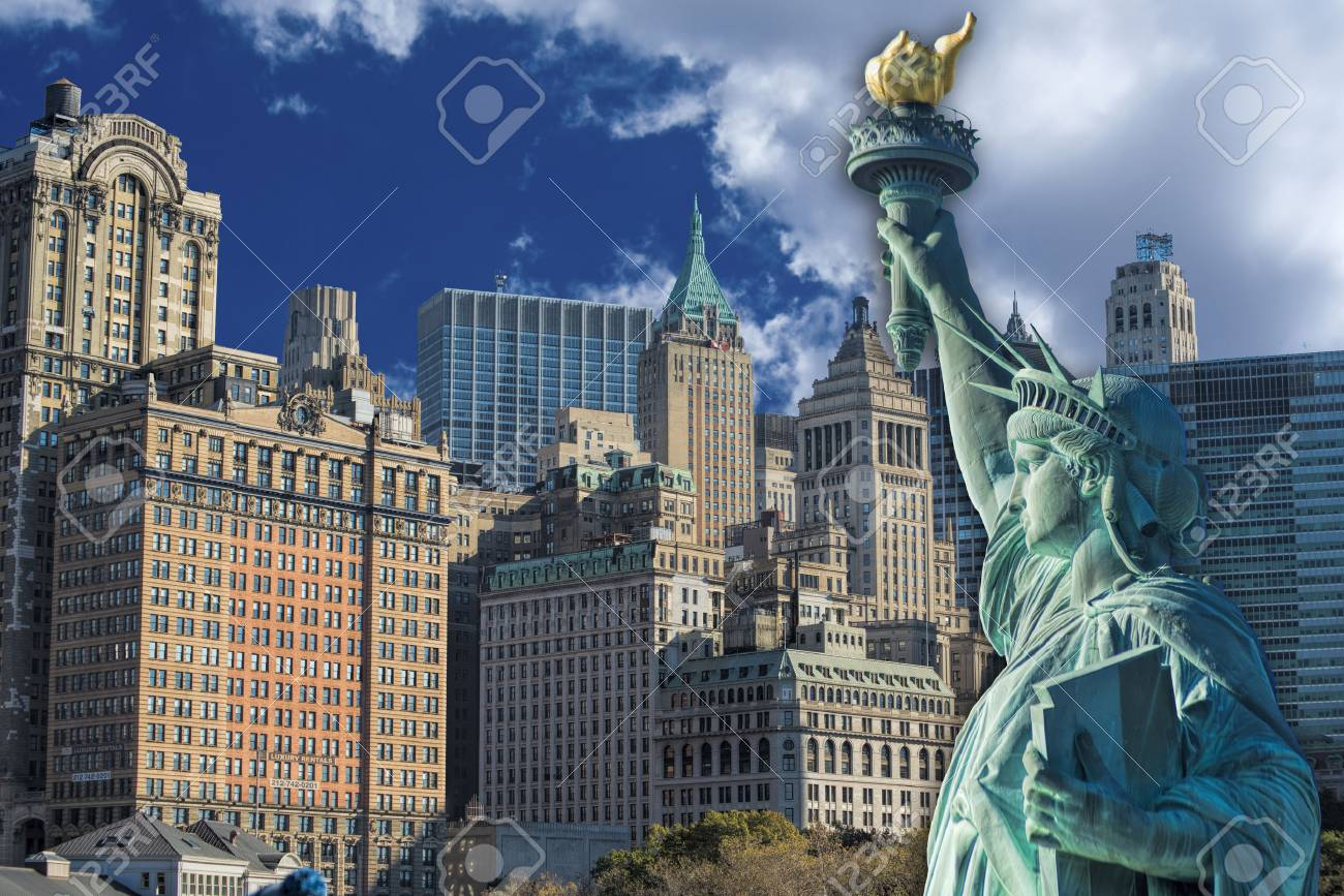 Statue of Liberty with New York City in background. Stock Photo - 23991050