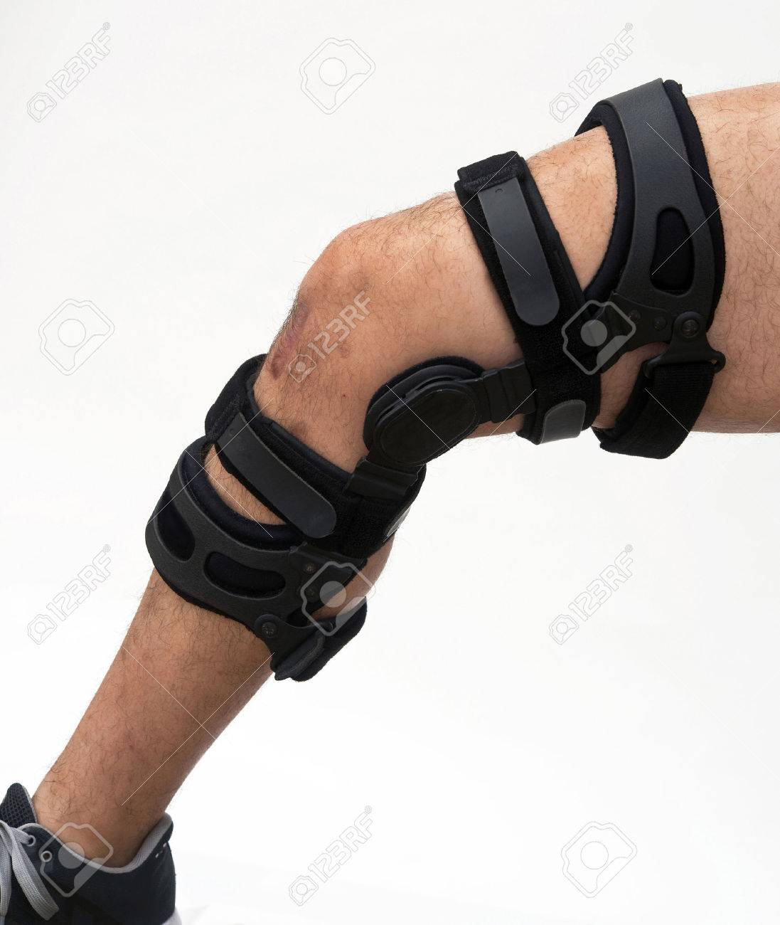 Knee brace for ACL football knee injury Stock Photo - 24540318