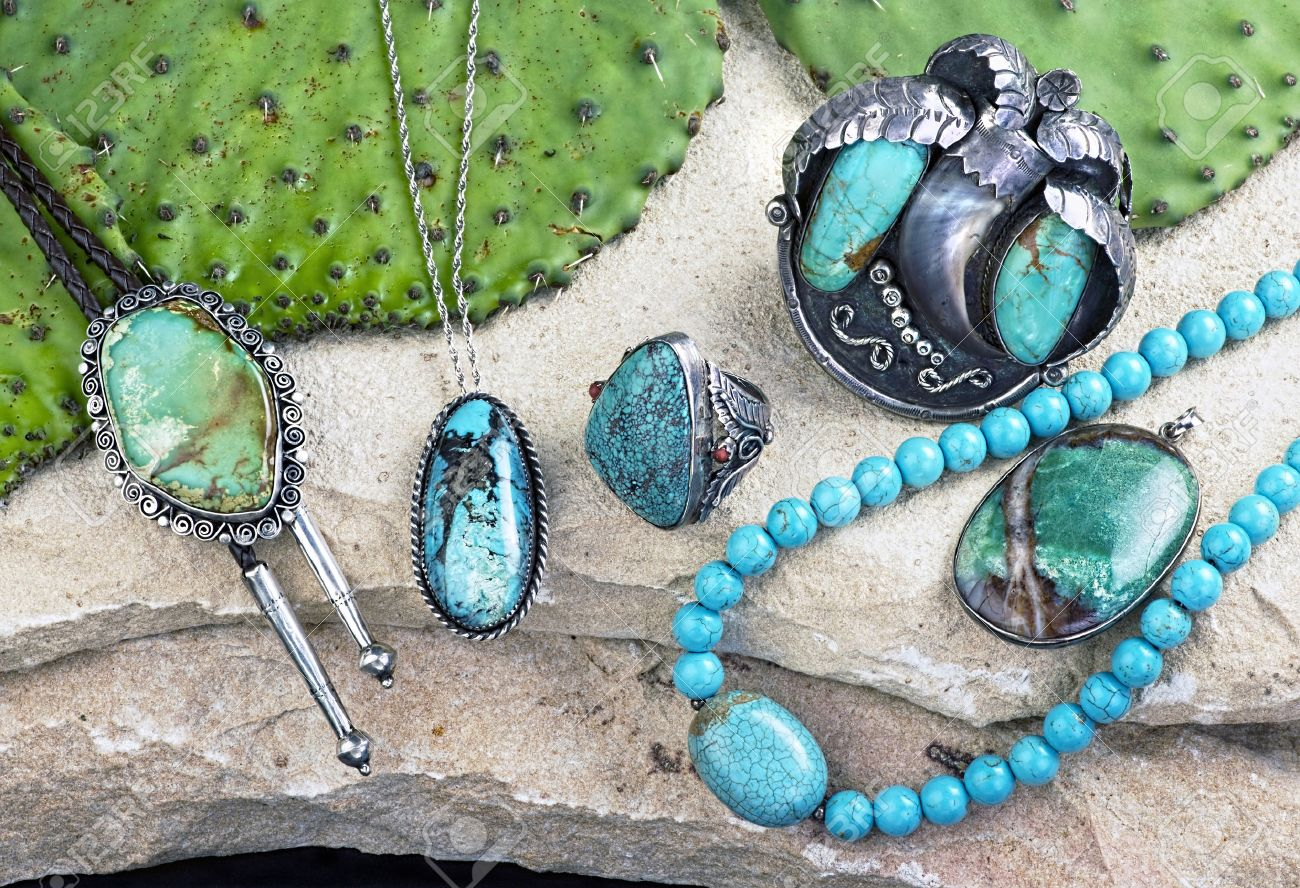 Old Native American Navajo indian turquoise jewelry. - 50587999