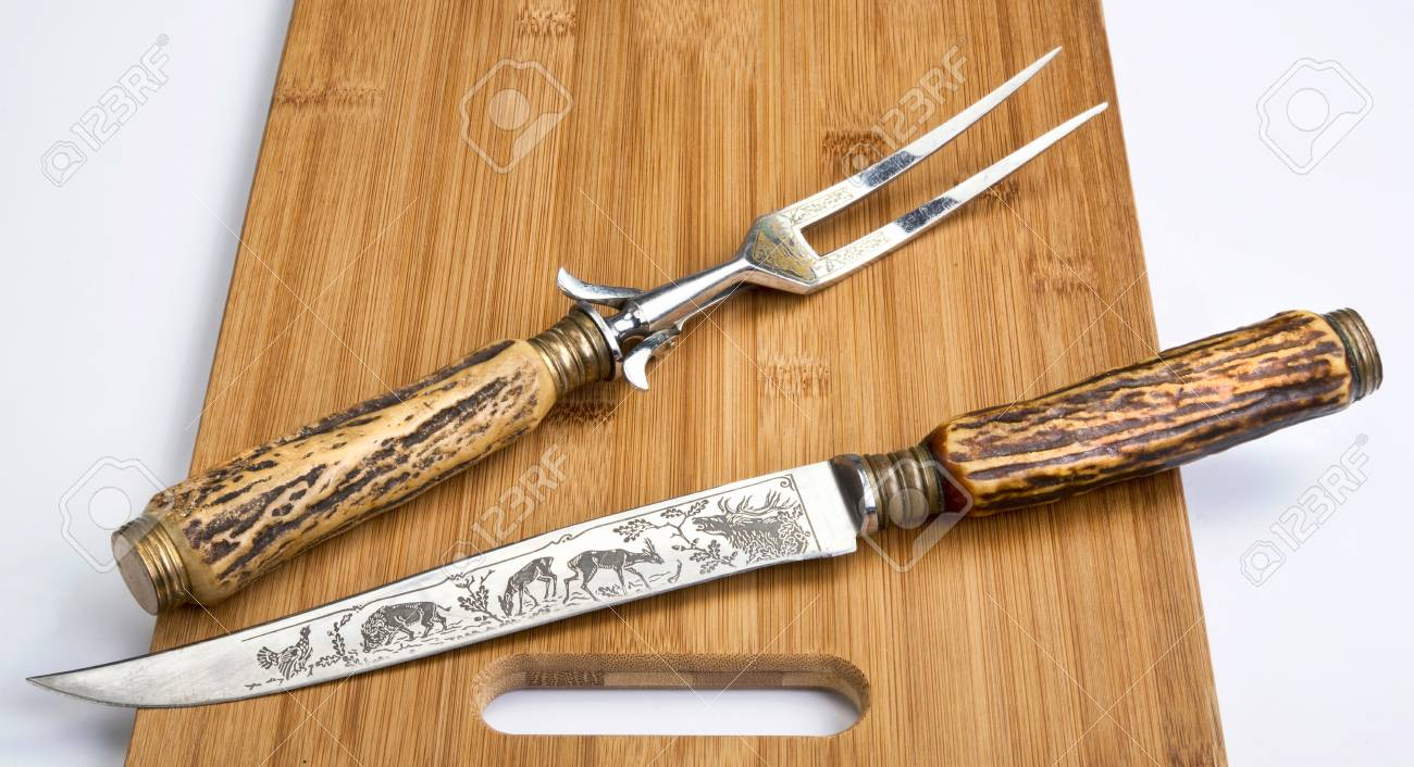 photo antique stag horn carving knife and fork set