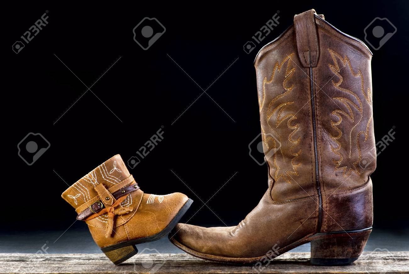 Baby cowboy boot and Dad cowboy boot with room for your type. - 72475222