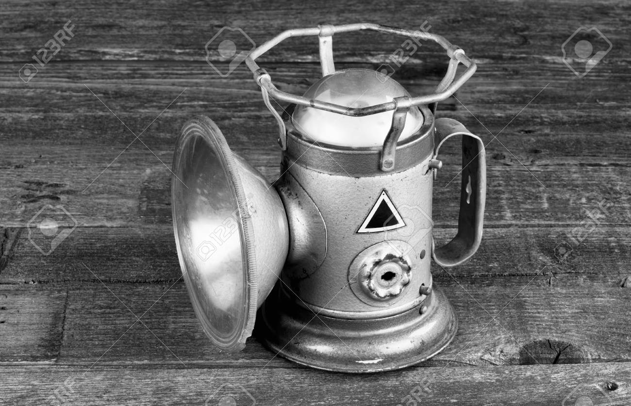Antique railroad powerlite lantern made in the 1930s in black