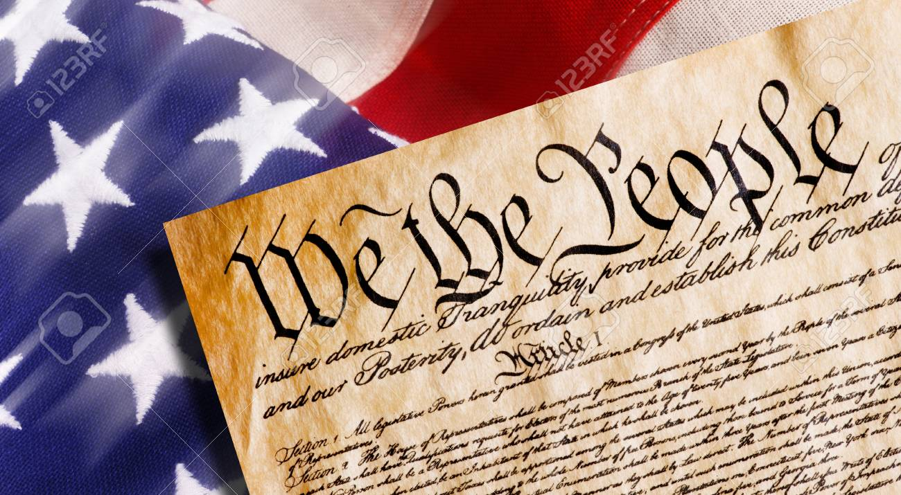 Constitution of America, We the People withAmerican flag. - 96596619