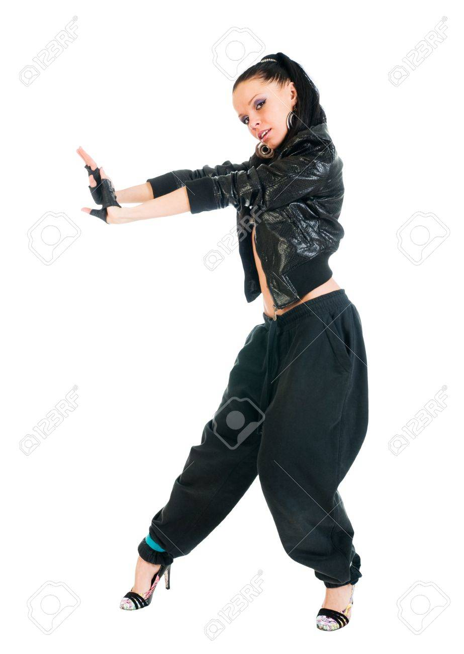 cool active female hip hop dancer on white background stock photo