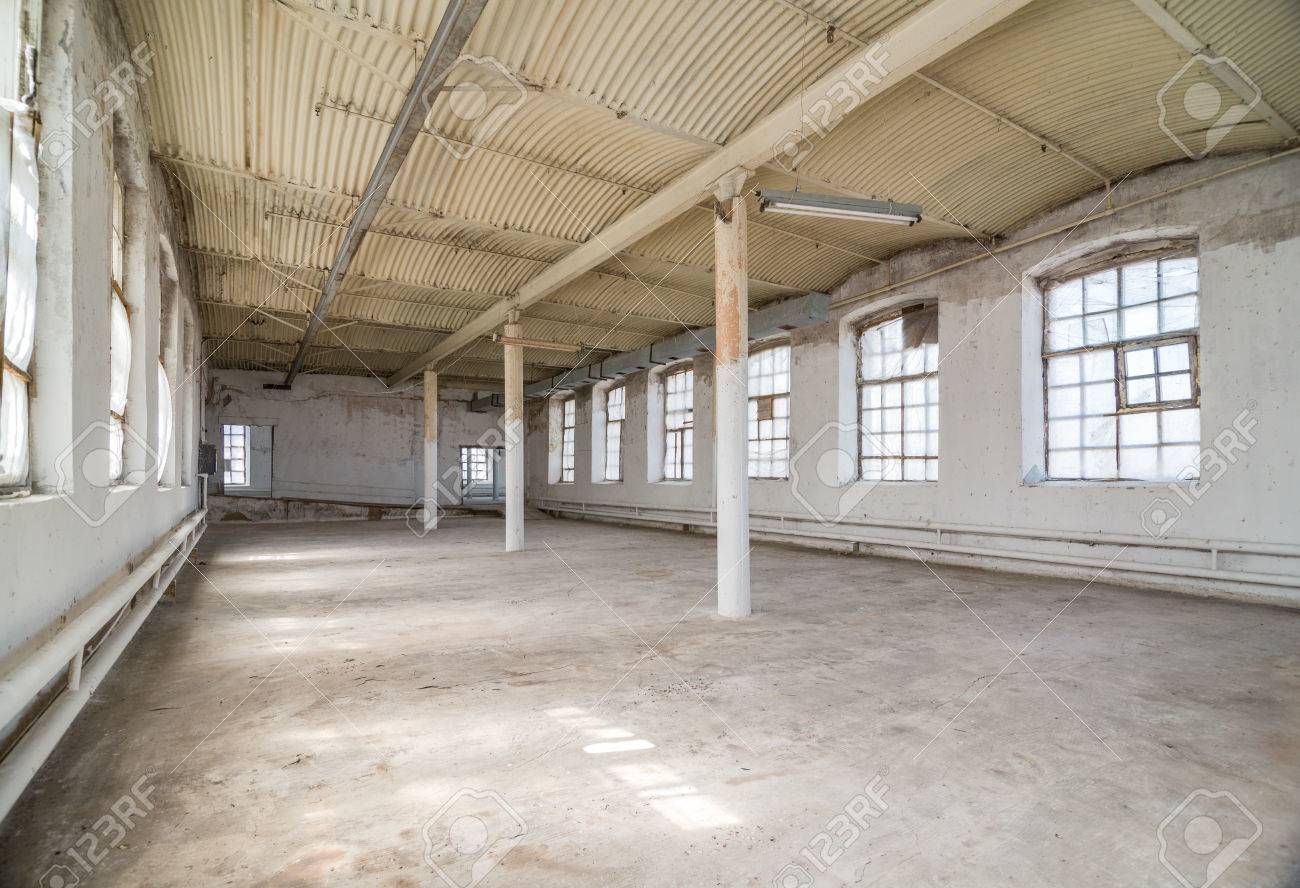Empty Warehouse Office Or Commercial Area Industrial Background Stock Photo