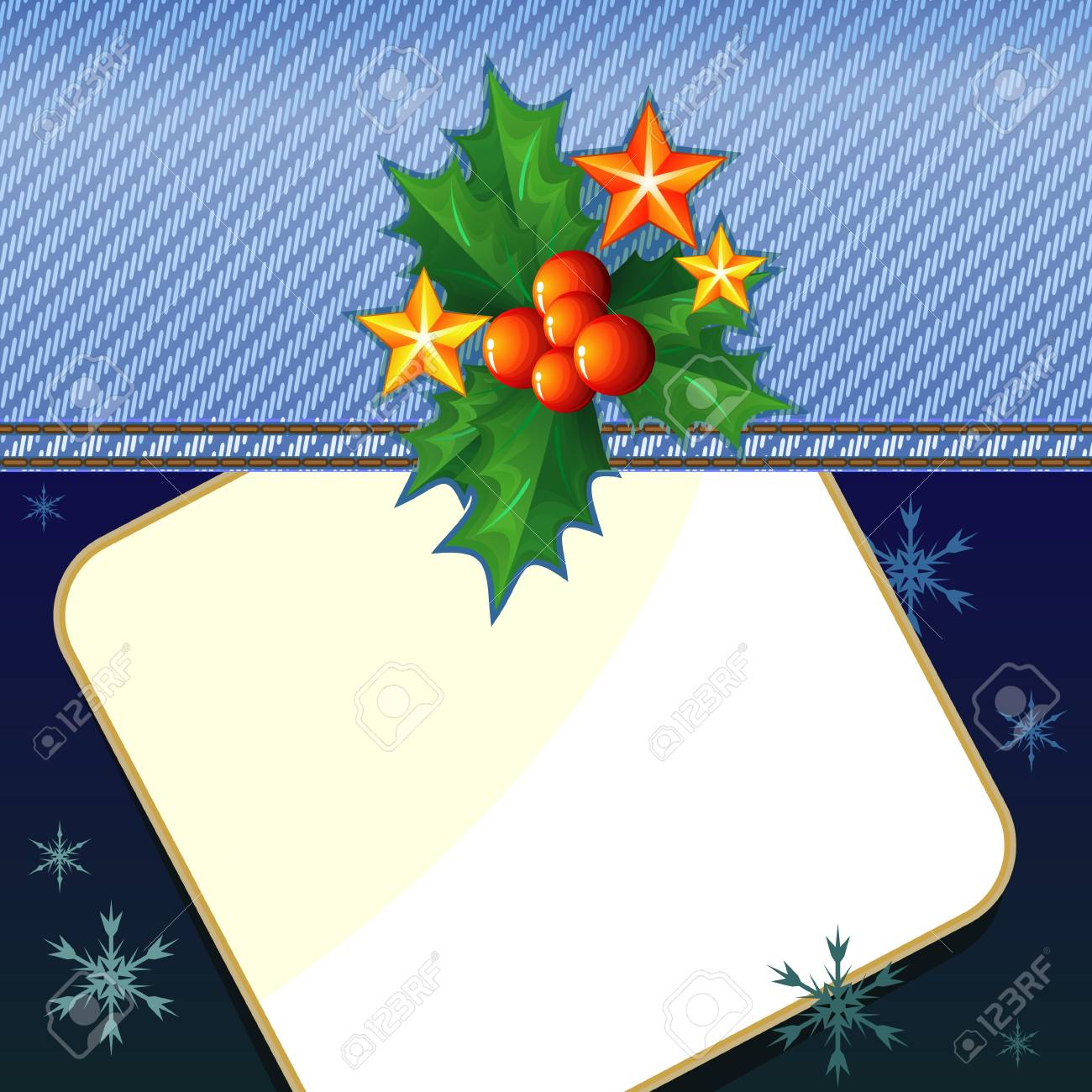 Christmas card design with denim cloth and holly Stock Vector - 11651251