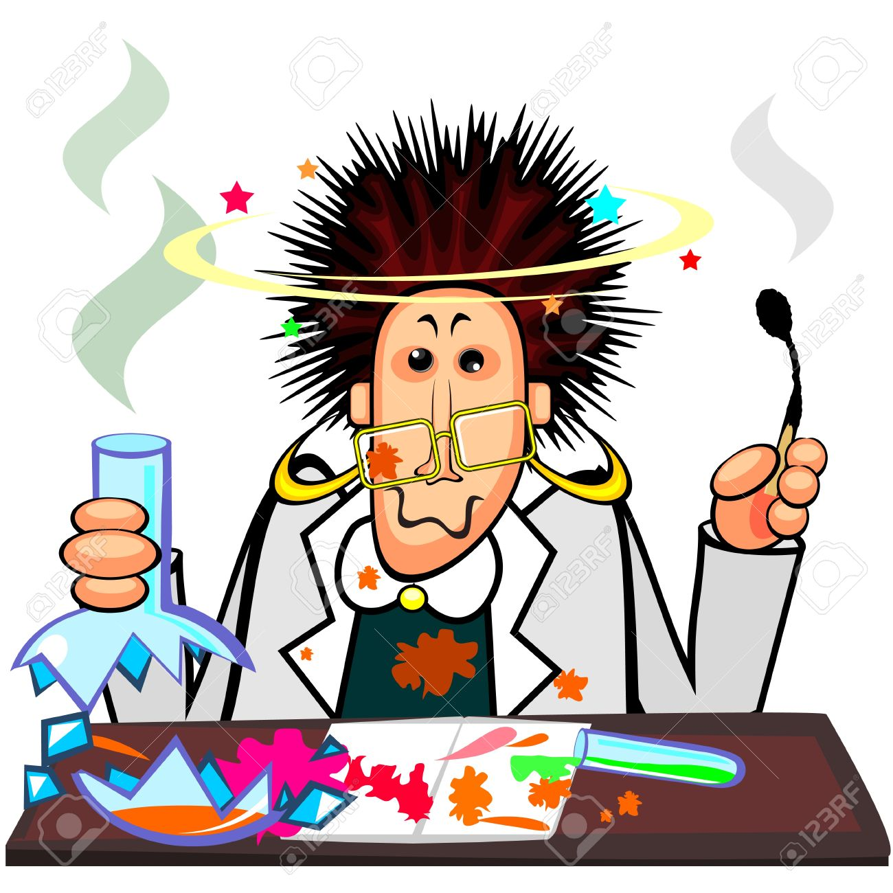 Woman chemist with broken flask and cool hairstyle after explosion Stock Vector - 11651263