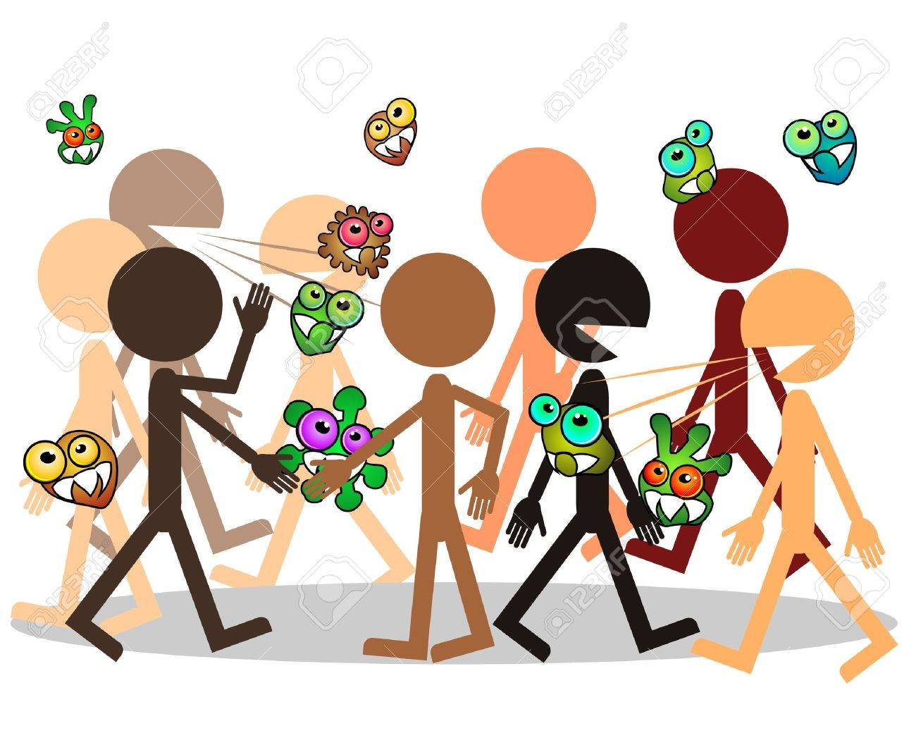 Crowd of people and germs traveling from man to man Stock Vector - 11651404