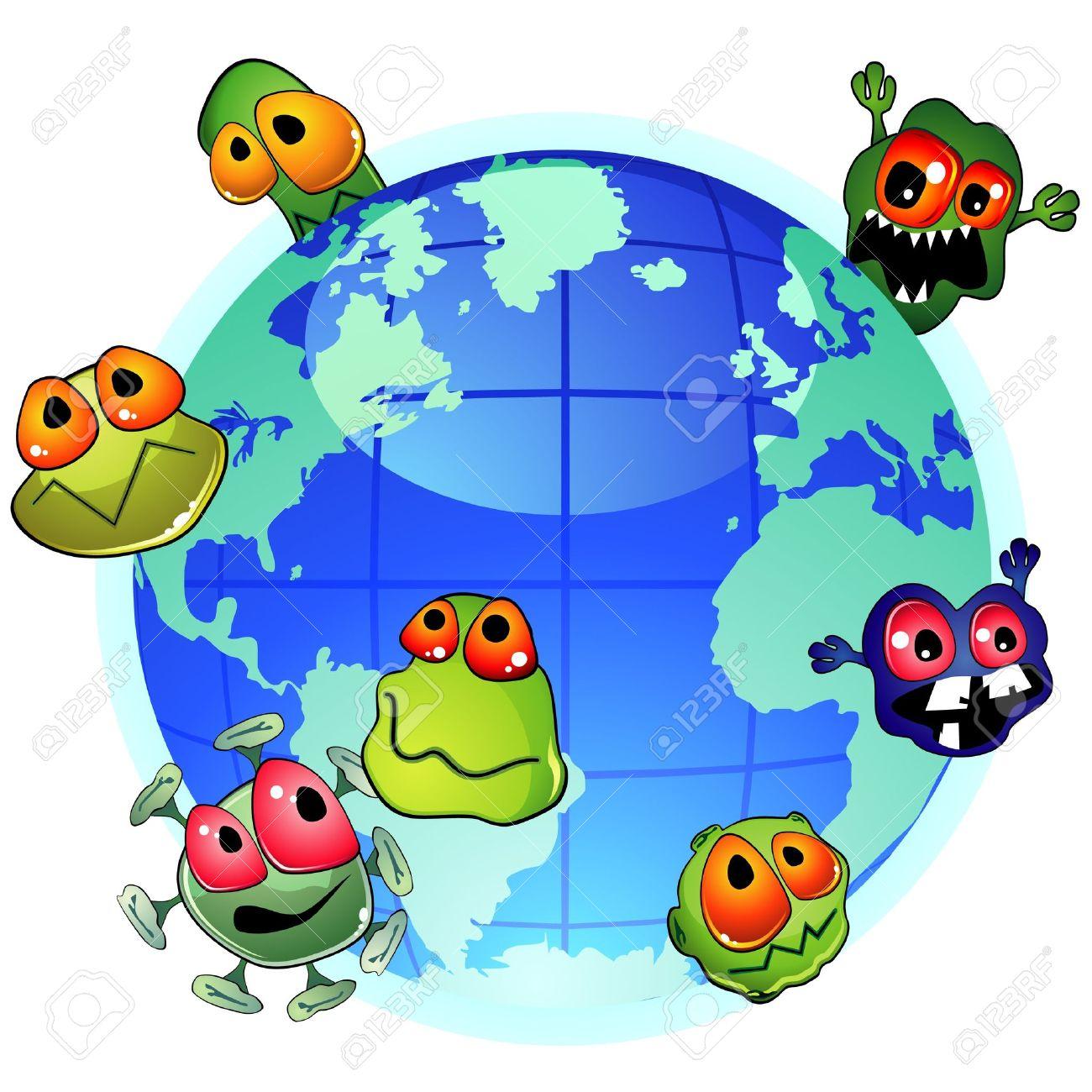 惑星の地球と悪の細菌感染症の広...
