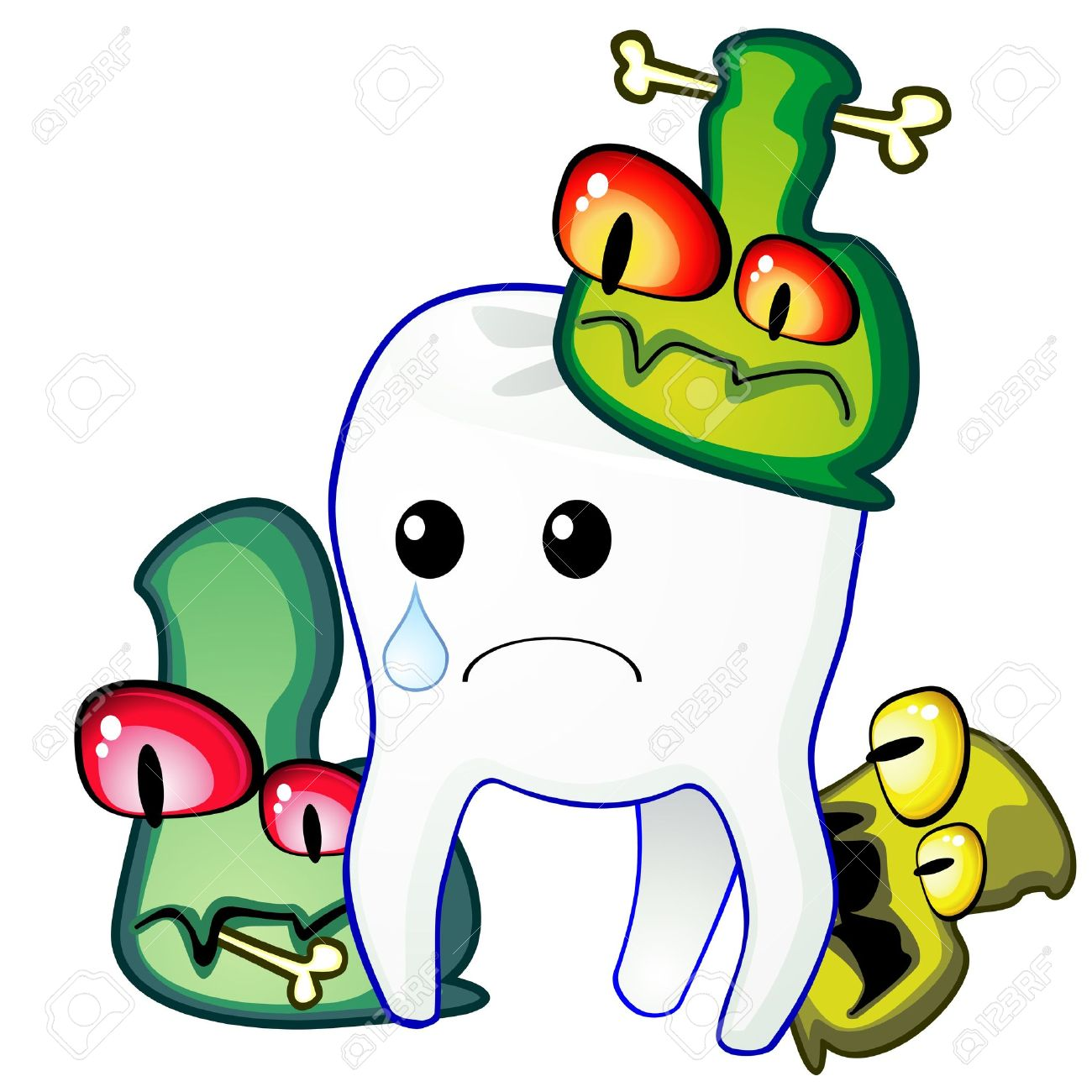 Poor Sad Tooth Is Attacked By Germs Of Caries Royalty Free Cliparts