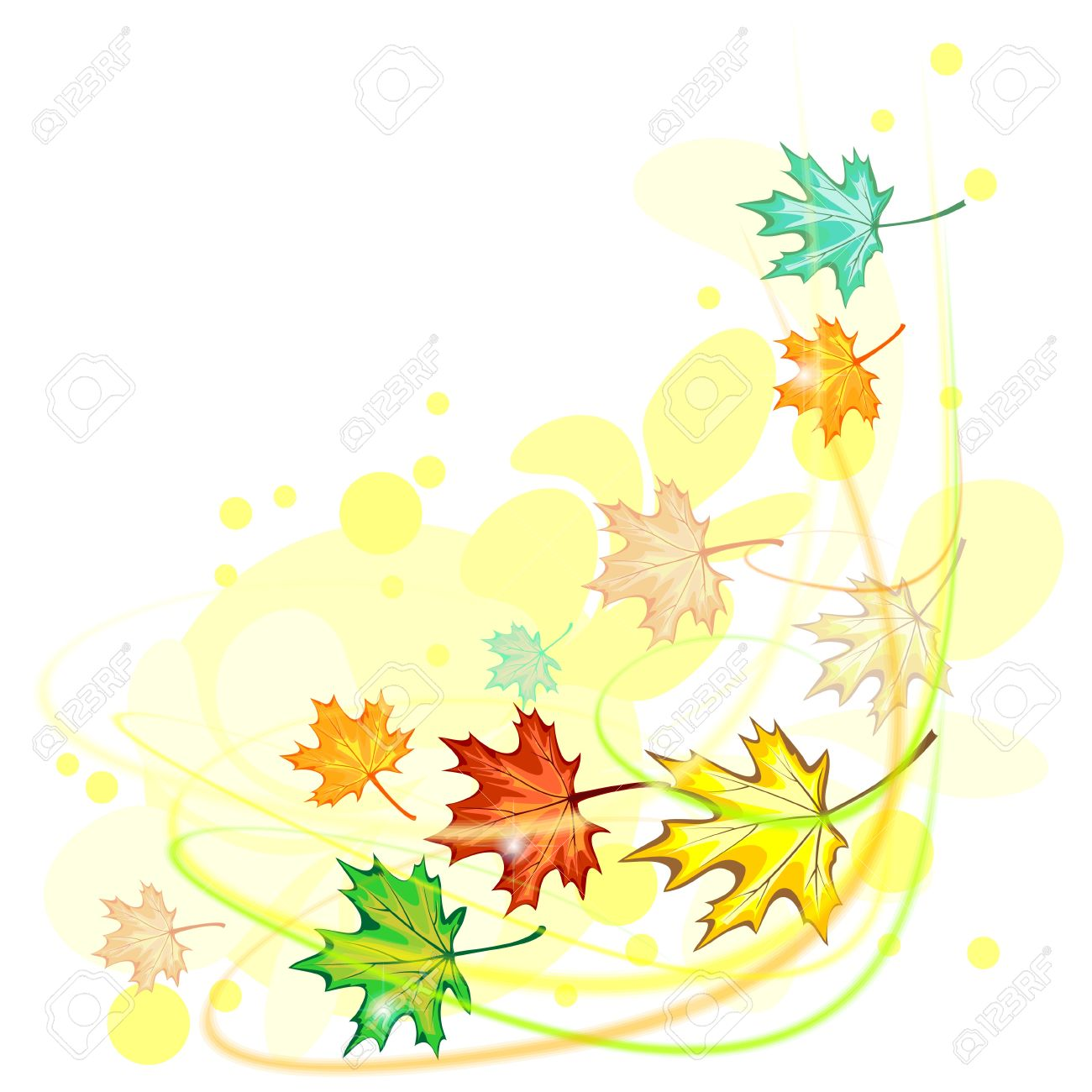 Colorful Autumn Maple Leaves Gone With Wind Royalty Free Cliparts ...