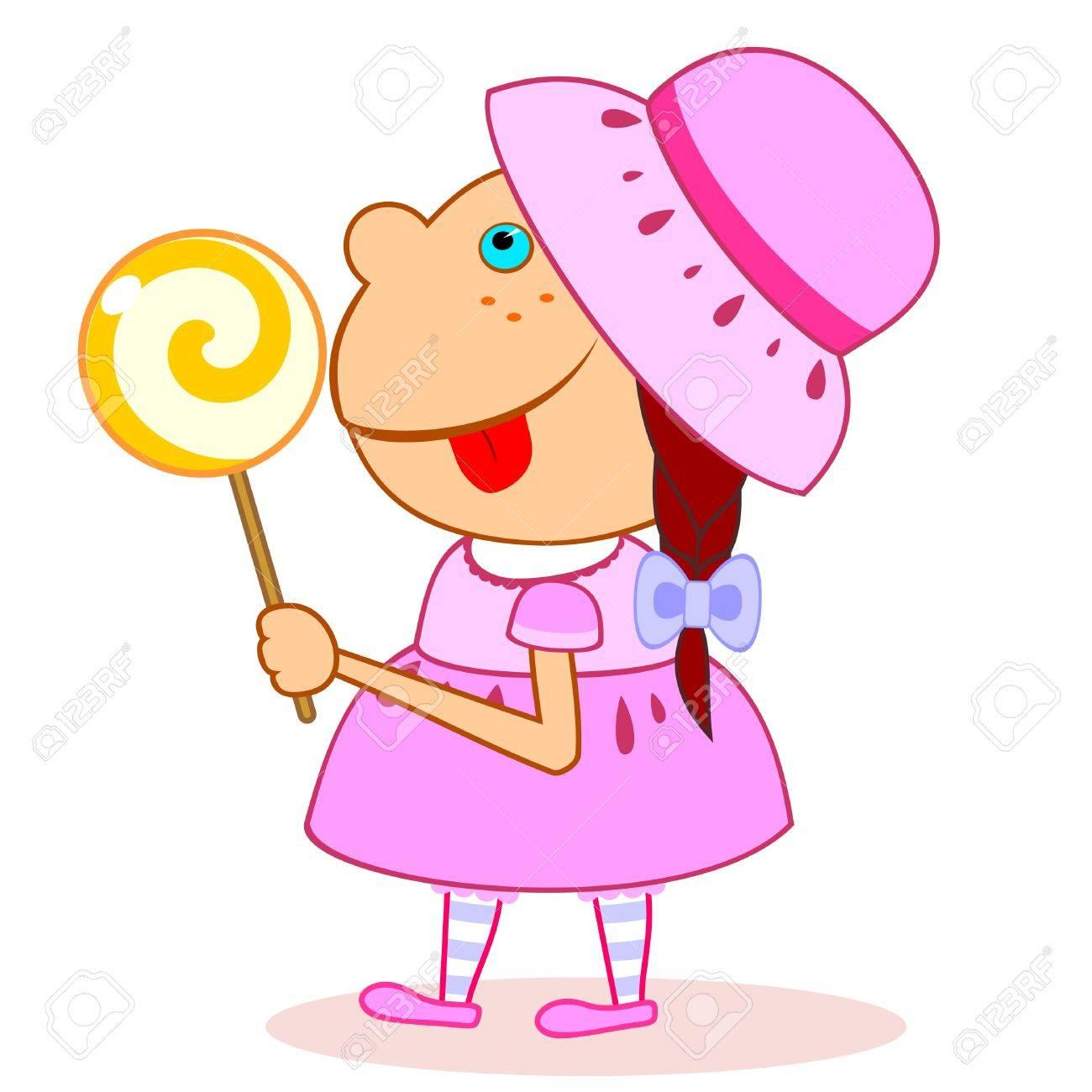 Sweet little girl walking with big lollipop in hand - 11651331