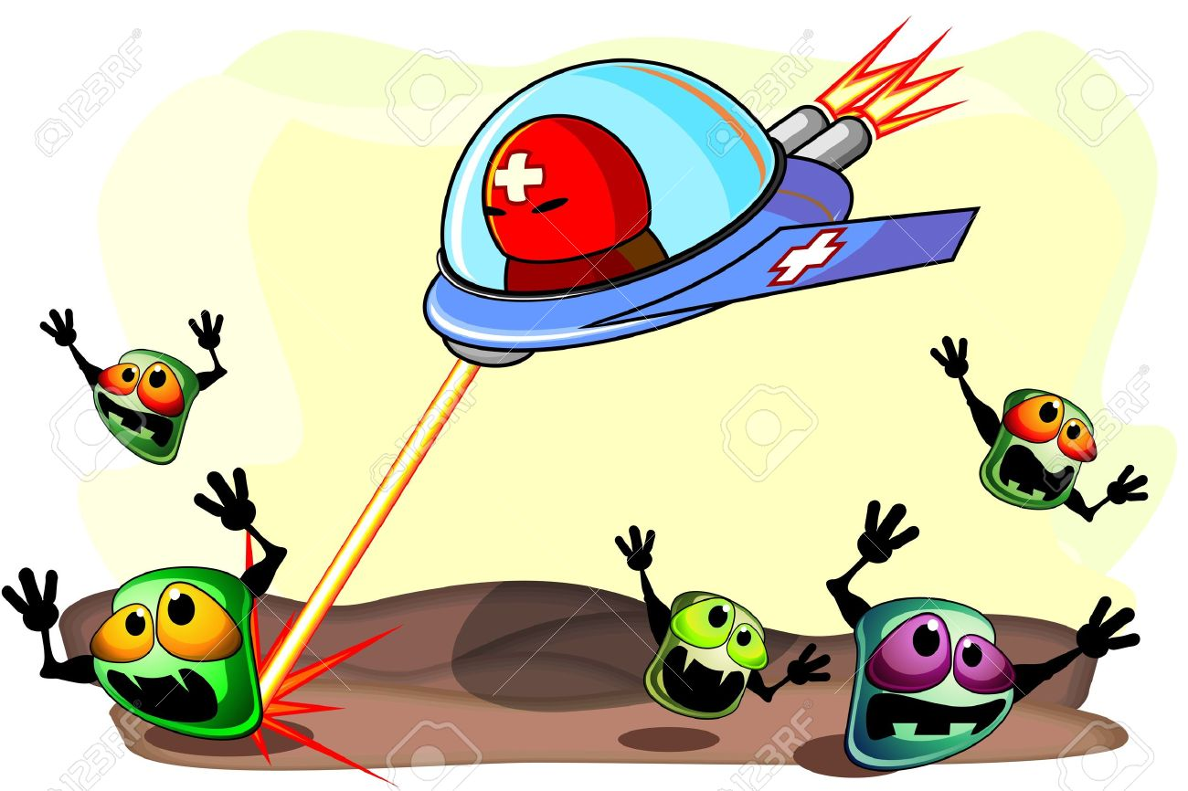 Strong antibacterial medicine on aircraft attacking frightened germs Stock Vector - 12492818