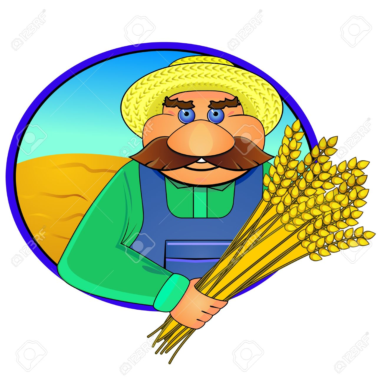 Sticker or label with aged farmer and wheat ears Stock Vector - 13068075