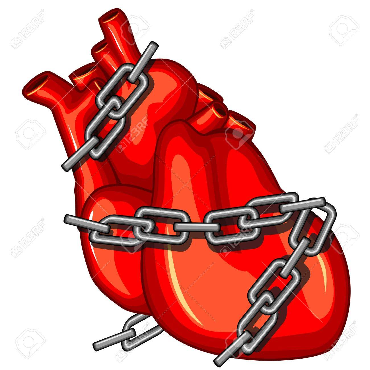 Red human heart with chains as concept of cardiac disease Stock Vector - 13286031