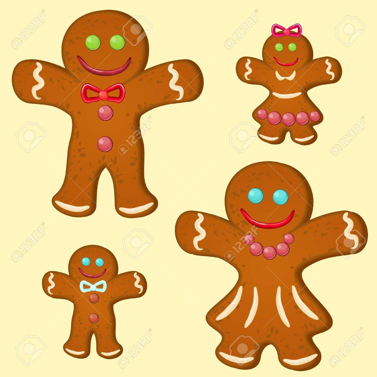 Set of four gingerbread stylized people,parents and children Stock Vector - 15476301