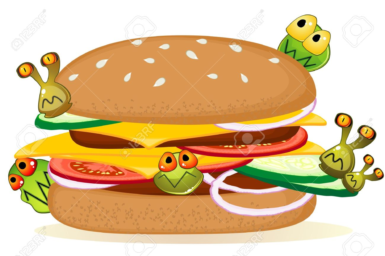 Big detailed hamburger with cartoon germs over white Stock Vector - 16197255