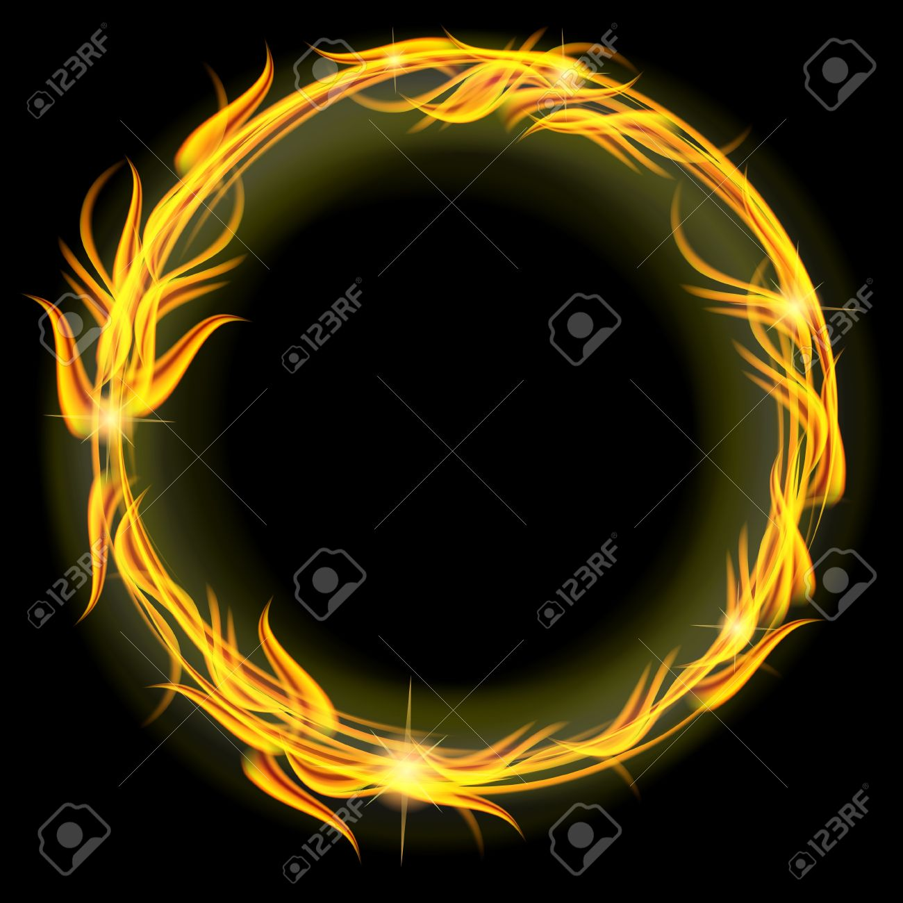 831e6471e370 Red And Yellow Circle Of Fire Over Black Royalty Free Cliparts ...