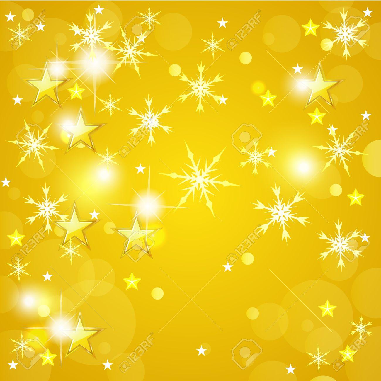 ОРАНЖЕВЫЙ ФОН 16307069-fond-jaune-de-no%C3%ABl-avec-des-%C3%A9toiles-d-or-et-flocons-de-neige