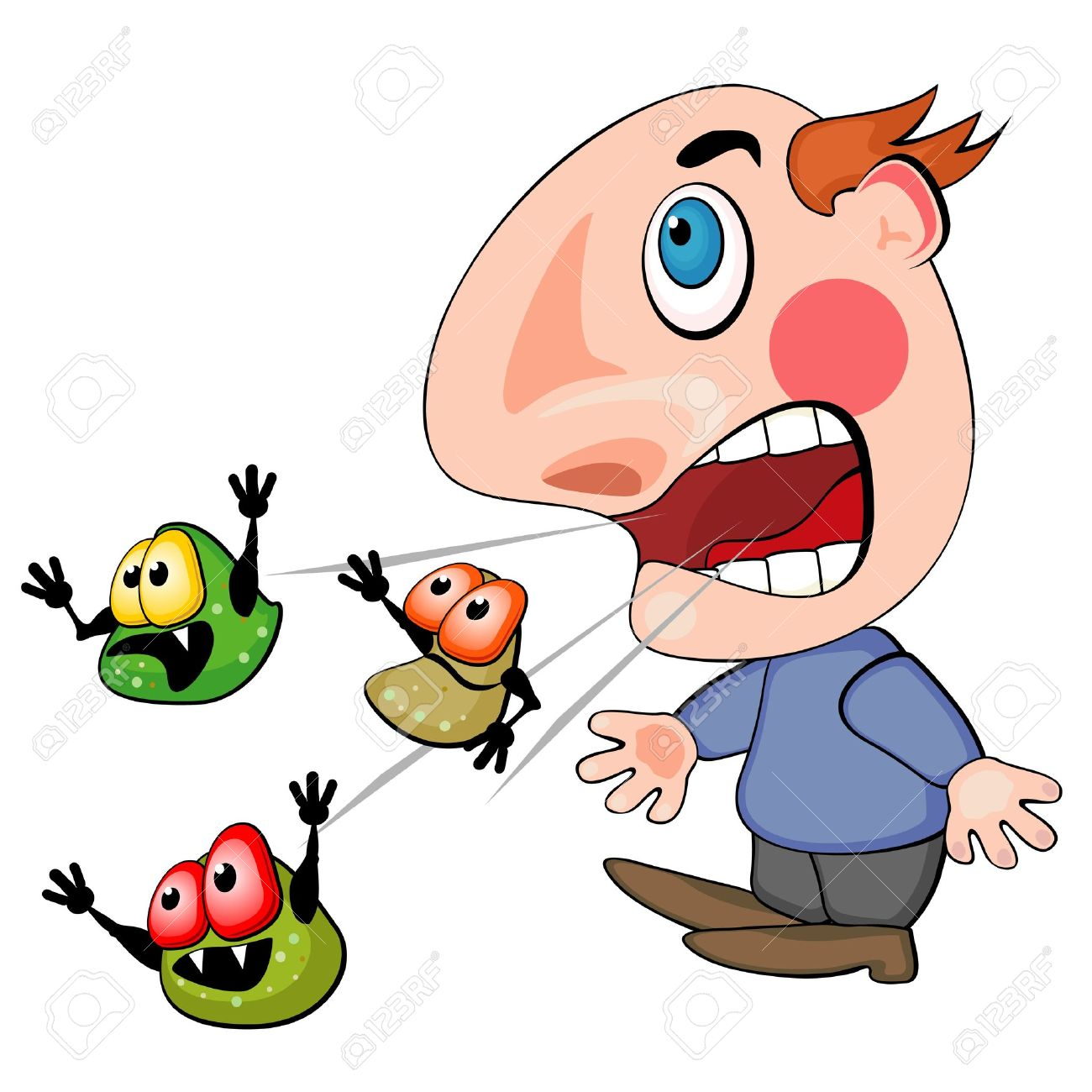 Coughing or sneezing man spreading germs of his disease Stock Vector - 17170318