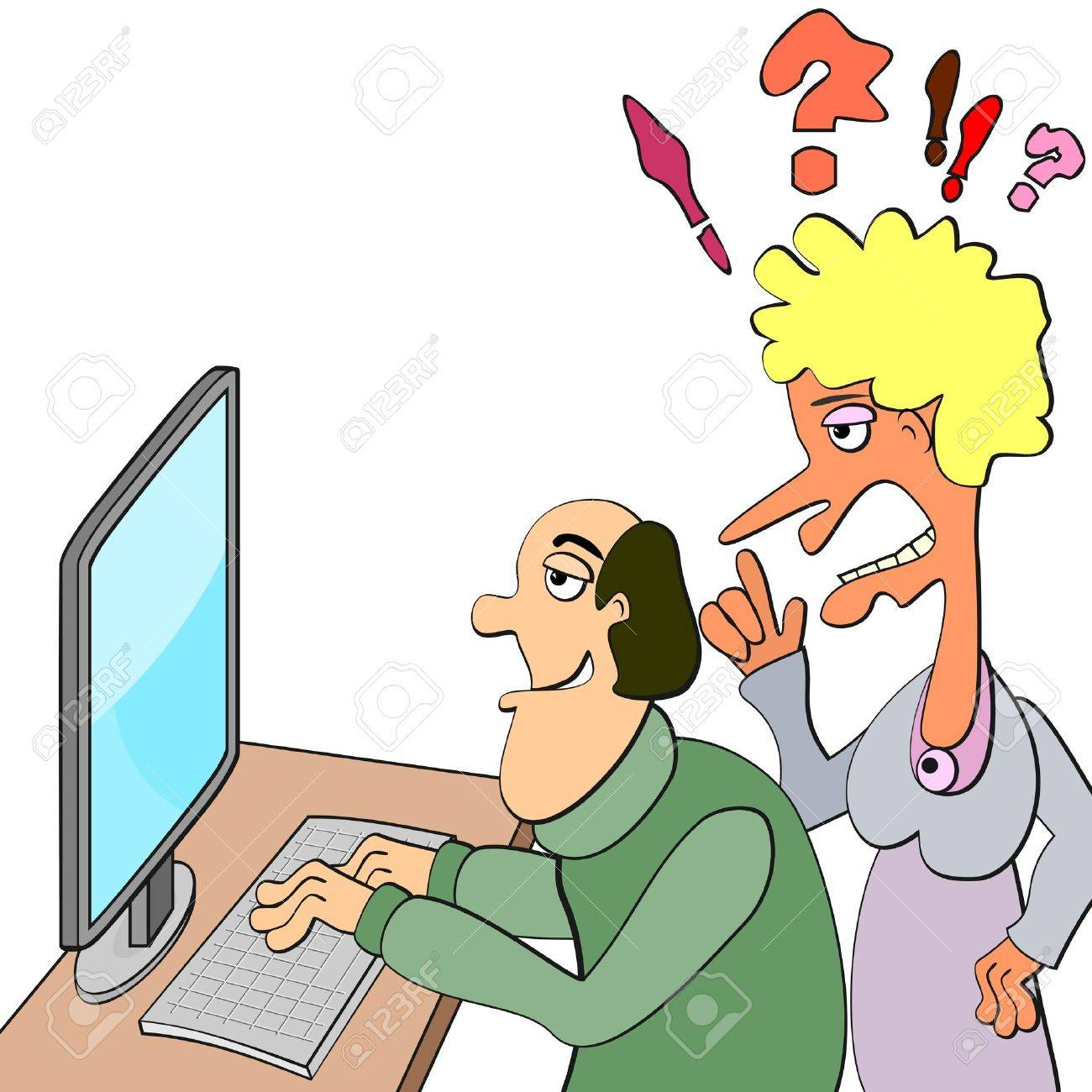Calm man working or playing on comp and ugly shouting woman Stock Vector - 18845684