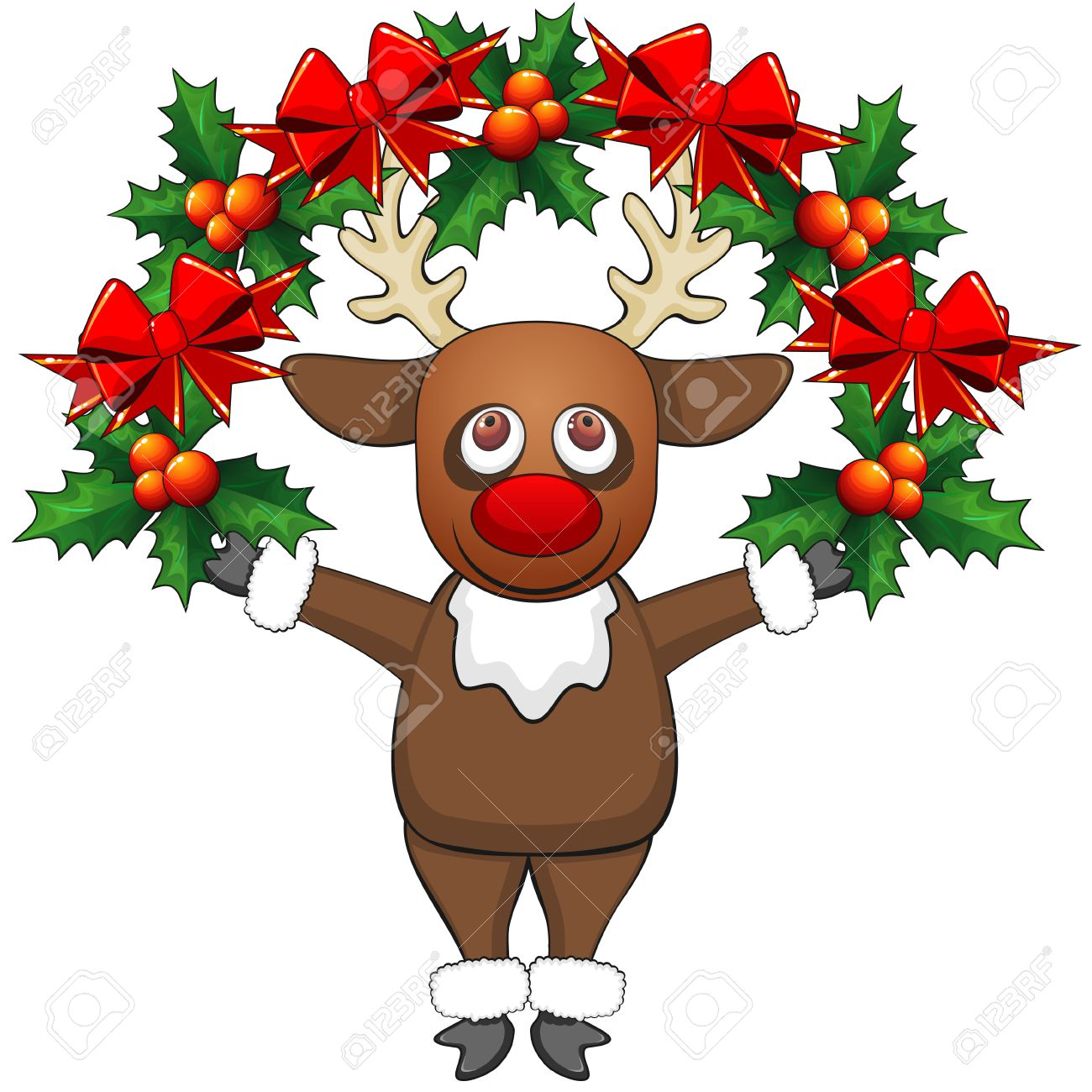 Cartoon Reindeer Standing With Christmas Garland With Bows