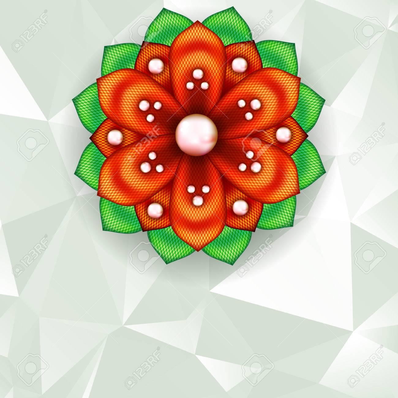 明るい詳細簪花と抽象的な幾何学的な背景のイラスト素材ベクタ Image
