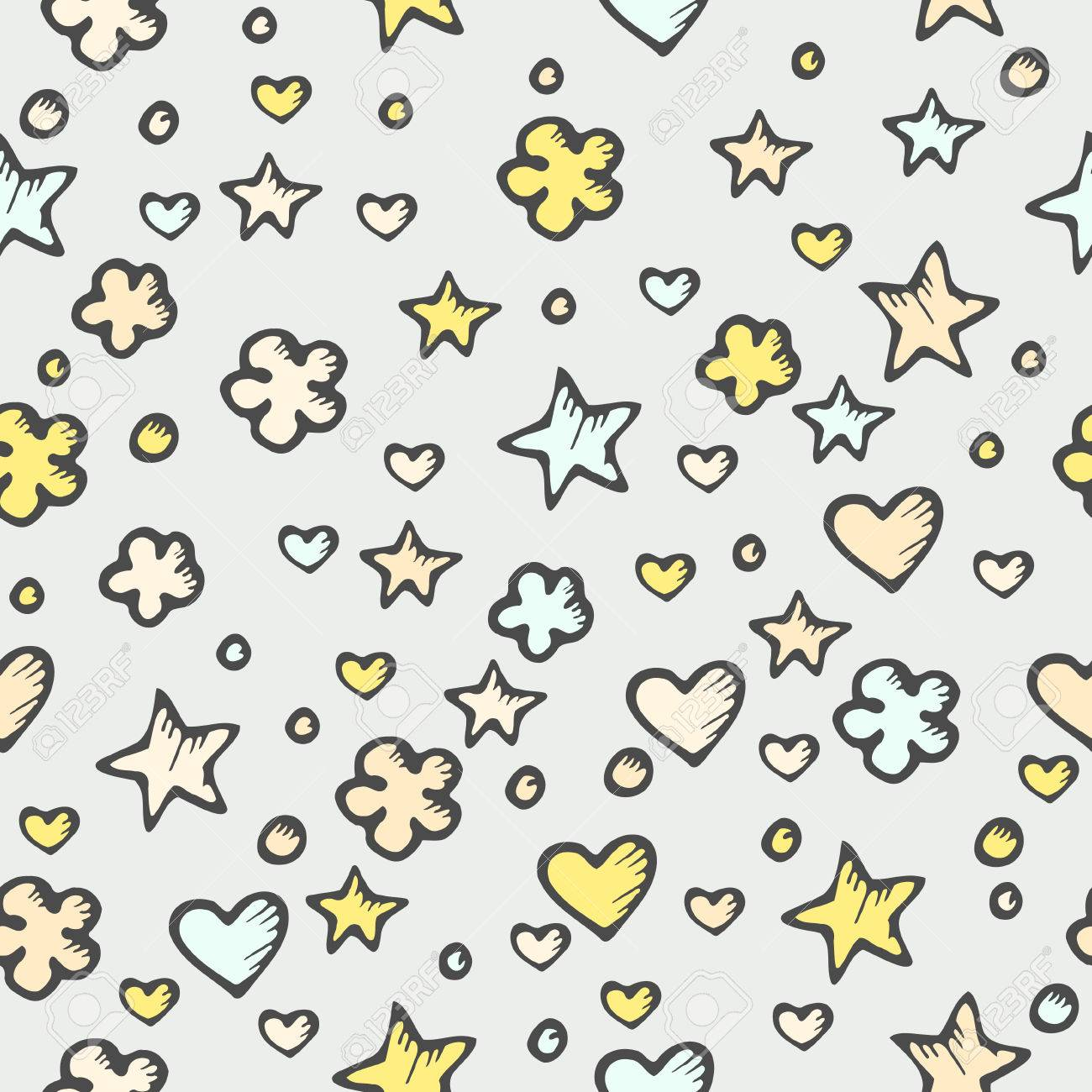 seamless abstract texture with doodle stars and hearts royalty free