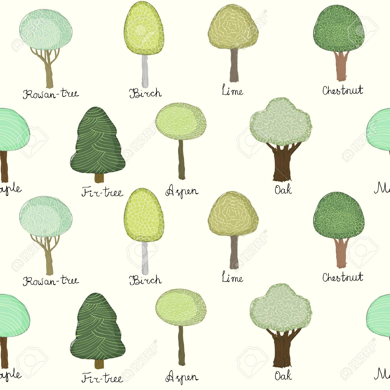 Light seamless texture with colorful doodle trees with names