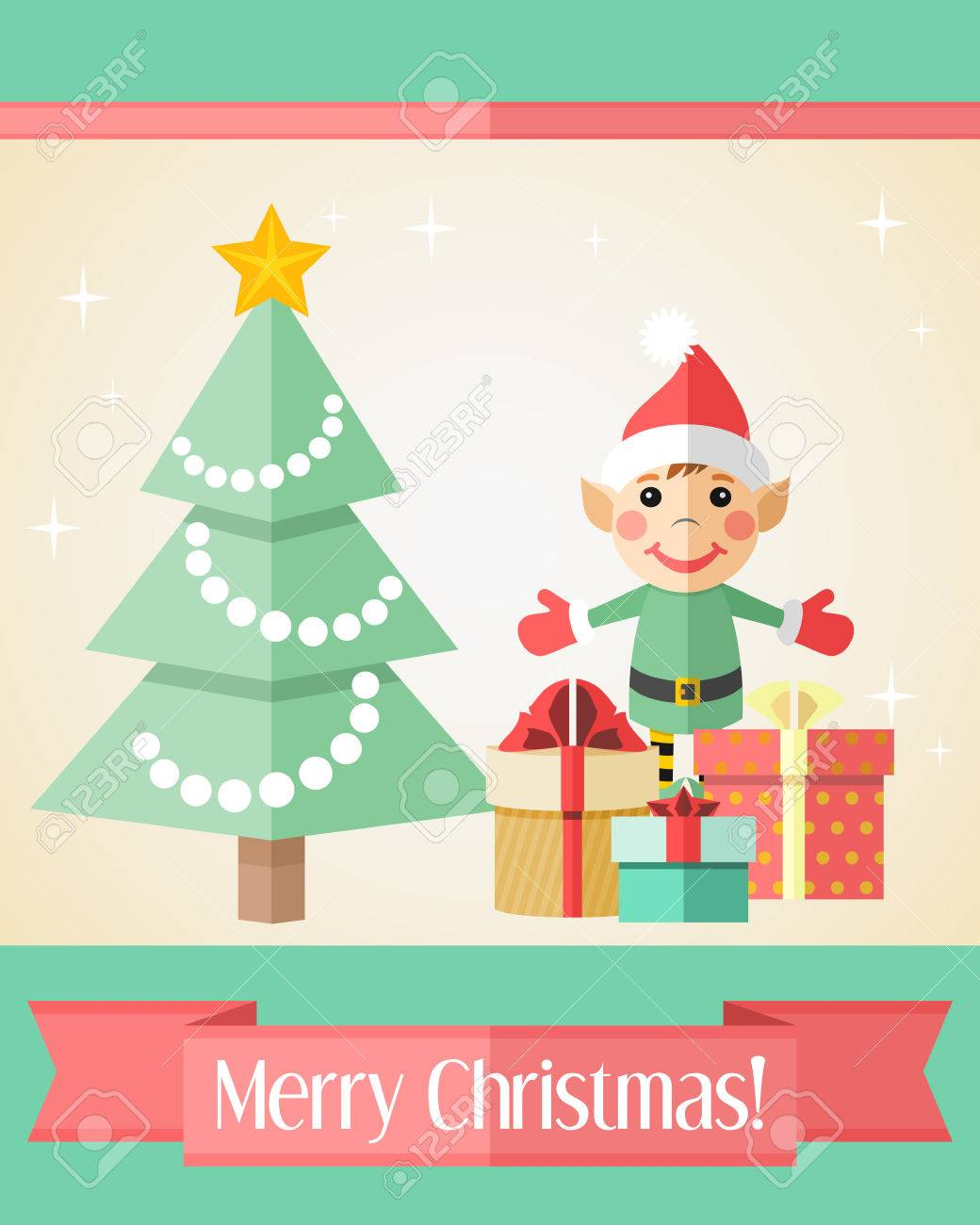 Holiday Christmas Card With Elf Standing Near Fir Tree And Gifts