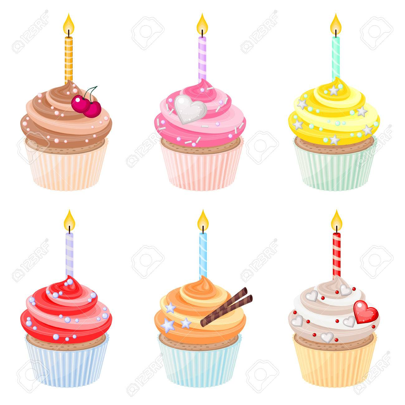 Set Of Festive Birthday Cupcakes With Burning Candles Royalty Free