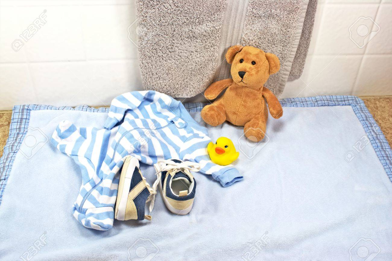 Bath Time For Baby With Rubber Duck Stock Photo, Picture And Royalty ...