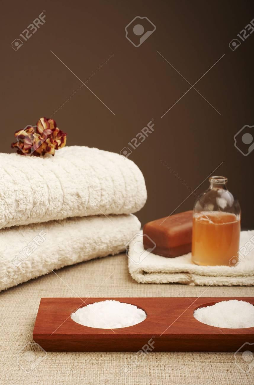 Bath items (soap, shampoo, bath salt, towel) Stock Photo - 725509