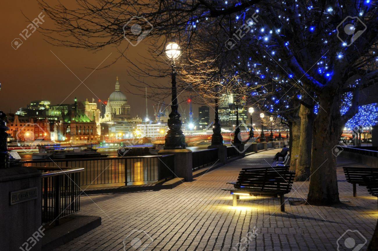 Night lights queens walk london - Queens Walk London Stock Photo 7732236