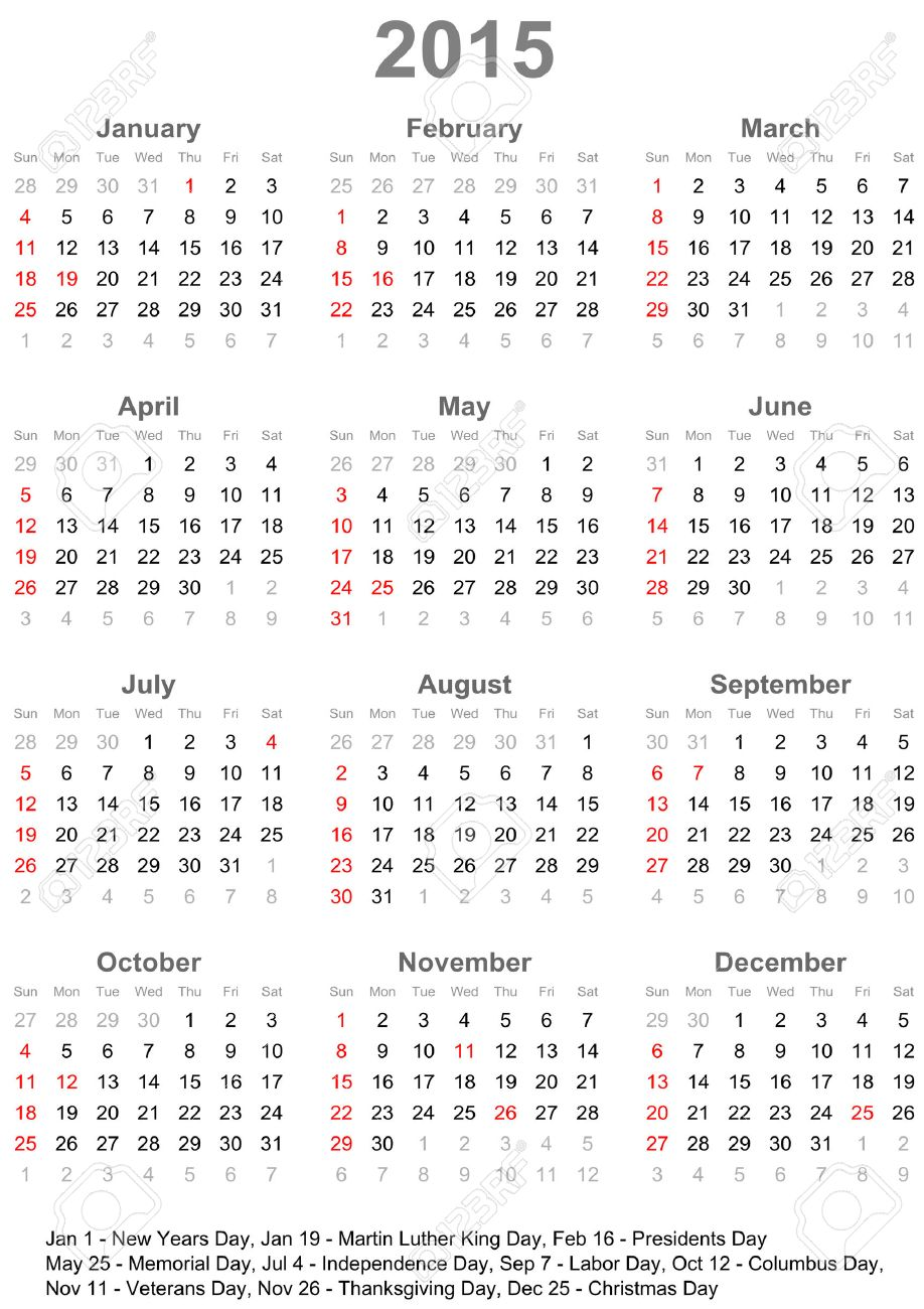 Calendar 2015 marked with the official holidays for the USA.  The week starts on Sunday Stock Vector - 28278492
