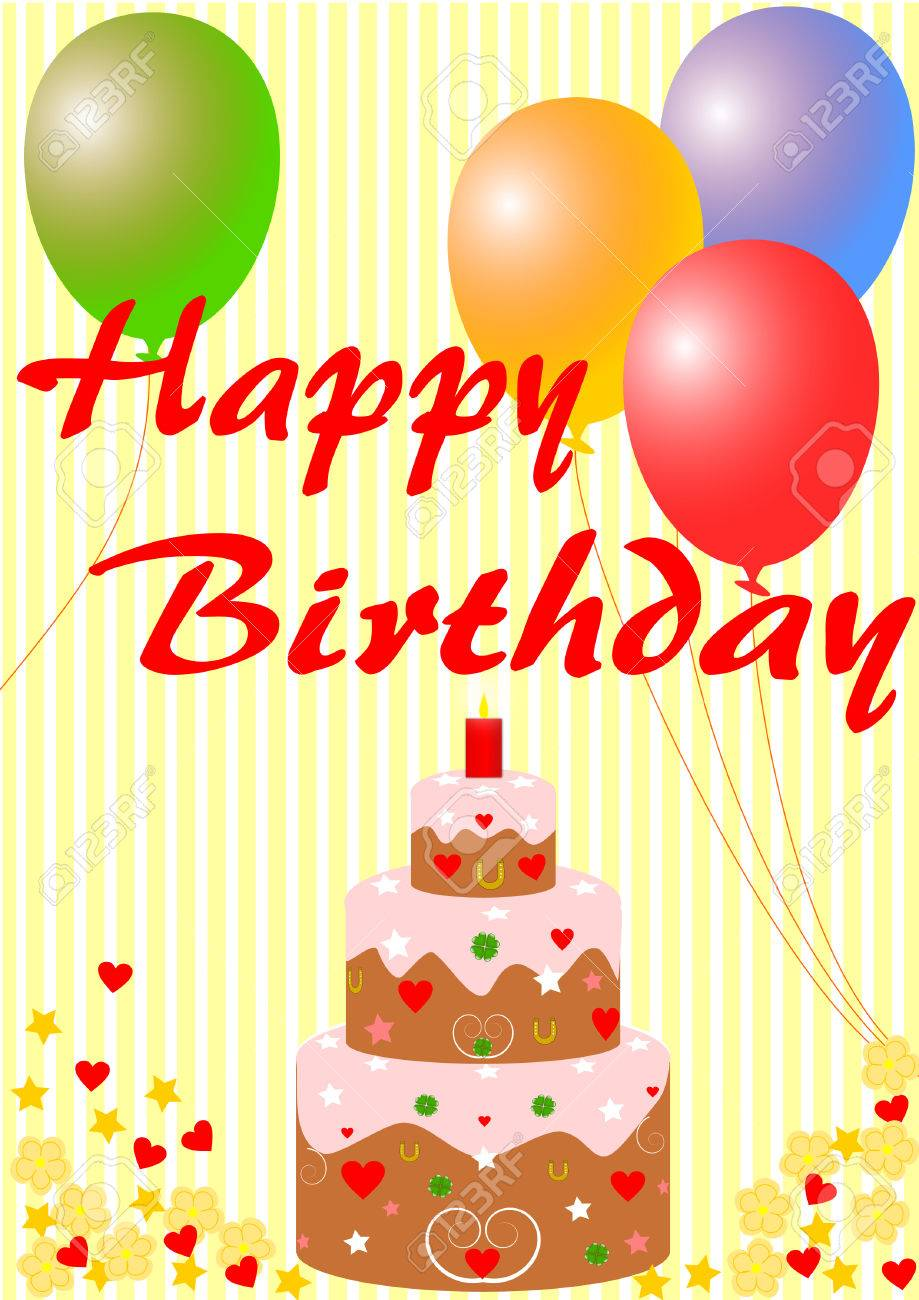 Happy Birthday Card With A Cake And Balloons On Yellow Striped Background Stock Photo