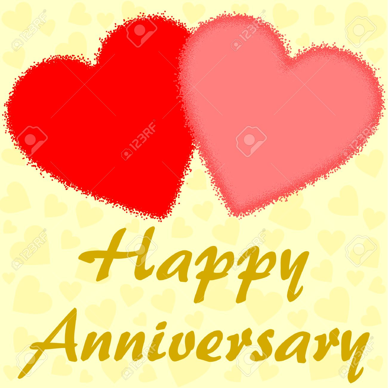 Happy Anniversary wishes with two big red hearts on yellow background