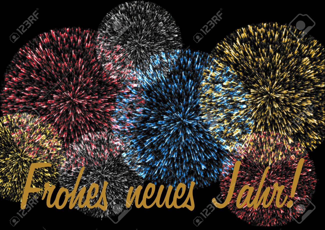 Nice Happy New Year Lettering In German On A Colorful Firework On A Black  Background Frohes Neues