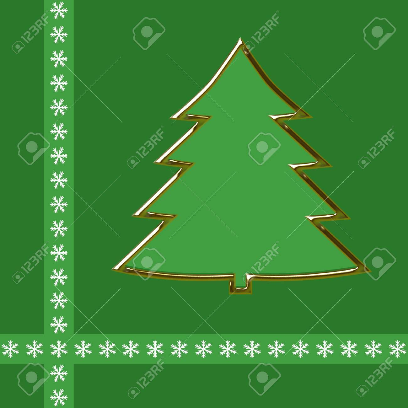 Outline Of Golden Christmas Tree On Green Background And An Edging Snowflakes Stock Photo