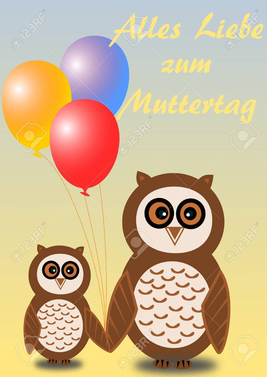 2 Owls Mother And Child With Colorful Balloons And With Mothers