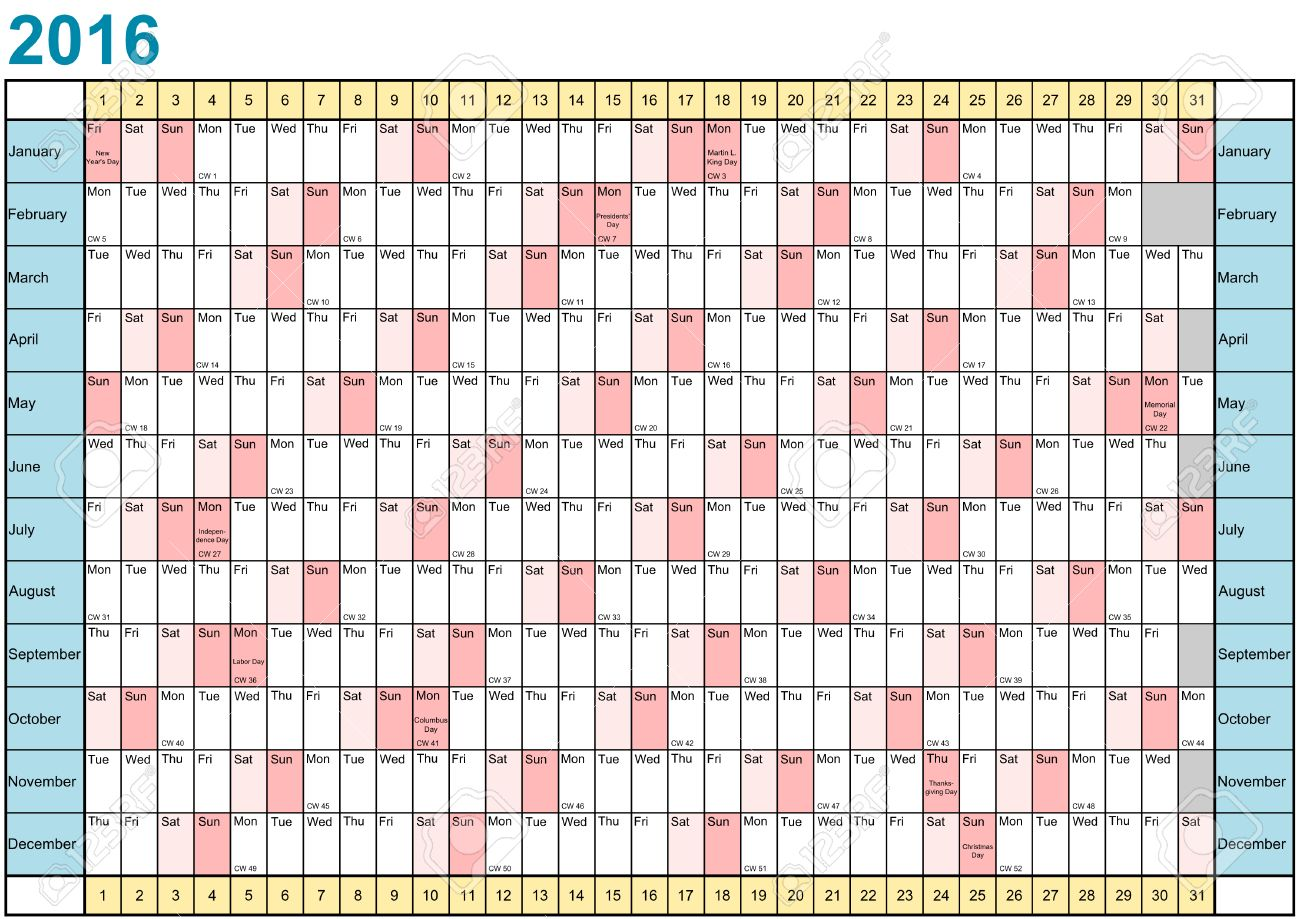 Year Planner 2016 Linear With Public Holidays For The USA In ...